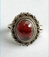 Sterling Silver Ethnic Asian Vintage Style Carnelian Stone Ring Size O 1/2 Gift