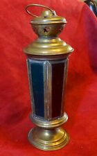 Brass Tea Light Lantern with Coloured Glass Panels