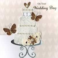 Second Nature Wedding Day Keepsake Card Luxury Handmade Square Greeting Cards