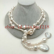 Long 50 Inch 4-5mm Freshwater Cultured White Pearl Coin Baroque Pearl Necklace