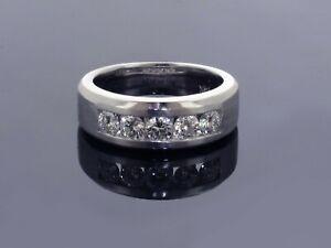1.00 CT Channel Set Diamond Mens Wedding Ring in 14k White Gold NEW!