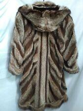 long brown blonde beaver real fur coat ladies women woman striped leather length