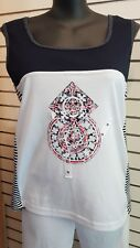 Black Apple ladies top #MS Size 20 Casual Weekend Holiday Summer Nautical