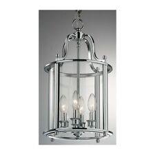 Traditional 4 Light Solid Brass Round Hall Ceiling Lantern, Polished Chrome