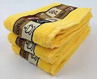Pack of 3 Cafe Cafe Kitchen Tea Towel in Yellow 100% Cotton 50cm x 65cm