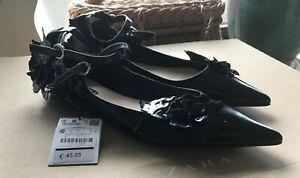 Zara Leder Ballerinas mit Blumen und Riemchen  schwarz Gr.40 neu mit Etikett
