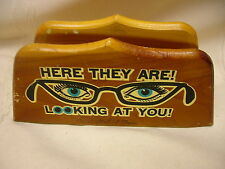 "Vintage 1960's Cedar Wood Eyeglasses Holder Circus Hall of Fame 6"" X 2 3/4"""