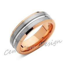 8mm,New,Unique,Rose Gold, Brushed Gray,Tungsten Ring,Mens Wedding Band,Comfort F