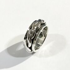 BRAIDED SOLID 925 STERLING SILVER LADIES SPINNER SPINNING RING BIKER GOTHIC 7.5