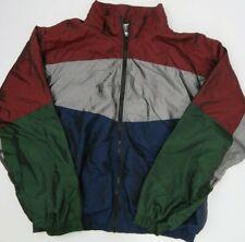 Vintage R&Y Sport Windbreaker Jacket Men's Size XL Burgundy Grey Blue Shiney