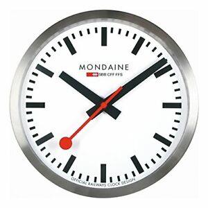 Mondaine A990.CLOCK.16SBB Wall Clock White Dial Silver Frame, Quartz