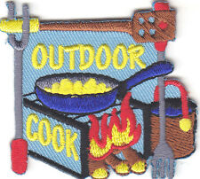 """""""OUTDOOR COOK"""" Iron On Patch Food Dessert Baking"""
