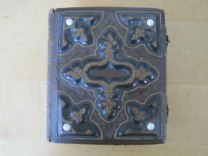 """Antique Victorian Photo Album Fancy  Leather Bound With 27 Pictures / 5 1/4 x 6"""""""