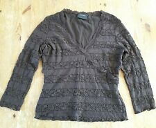 Size 12 Principles Brown 3/4 Sleeve Stretchy Top