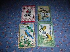 a27. 4 Vintage Swap Playing Cards  Blank Backs  Dog Birds