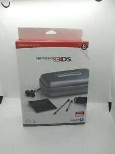 NEW! NINTENDO 3DS EXPLORER STARTER KIT 8 ITEMS EAR BUDS STYLUS MORE SILVER J16