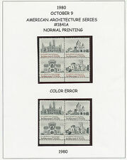 USA 1980 American Architectur U/M se-tenant-4-blk VARIETIES MISSING COLOUR