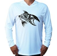 Angry Fish Bones UV Protected UPF 50 Long Sleeve T-Shirt Fishing Boat Hood