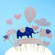 cake topper blue pink baby shower congratulations elephant cloud hot air balloon