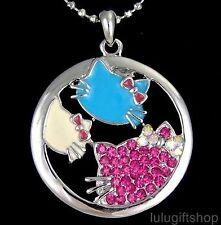 WHITE GOLD PLATED LOVELY HELLOKITTY CAT PENDANT NECKLACE USE SWAROVSKI CRYSTALS