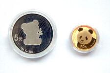 2017 35th anni of panda gold coin 5g gold 80yuan 15g silver 5yuan 2-pc set