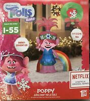 Christmas Airblown Inflatable Trolls Poppy Gemmy 5 ft Tall