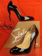 NIB LOUBOUTIN WAWY DOLLY BLACK PATENT LEATHER SQUIGGLY HEEL CLASSIC PUMPS 37.5