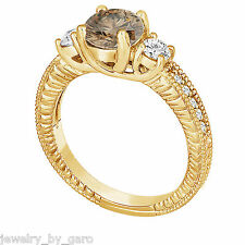 CHAMPAGNE & WHITE DIAMOND ENGAGEMENT RING VINTAGE STYLE ENGRAVED 14K YELLOW GOLD