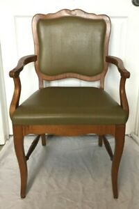 Antique Vintage Carved Solid Cherry Wood Open Arm Chair - Nice!!