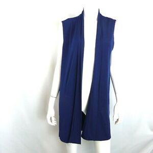 Every Day by Susan Graver Medium Liquid Knit Open Front Vest Sapphire Blue