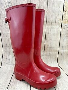 POLAR Red Rain Rubber Water Boots Pull On Bow Accent Shoes Women's US 7