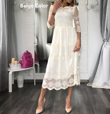 Women Summer Boho Long Maxi Bodycon Evening Party Beach White Lace Dress