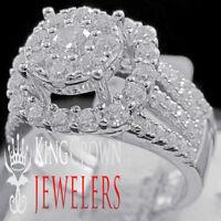 2Pc Wedding Engagement Rings Real White Gold On Silver Simu Diamond Bridal Set