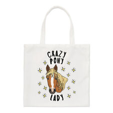 Crazy Pony Lady Stars Small Tote Bag - Funny Horse Shoulder