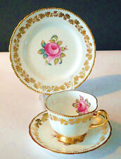 Tea Cup Piattino Tè PIASTRA Bianco Rosa Rose Gold INGLESE VINTAGE CHINA Tea Party