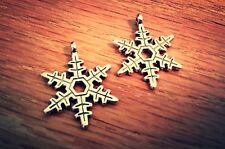Snowflake Charms Pendants Antiqued Silver Christmas Charms Winter Charms 10pc