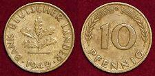 10 pfennig 1949D Bank Deutscher Lander GERMANY Deutschland Allemagne