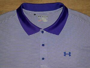 Men's NWOT UNDER ARMOUR HG Loose Polo 3XL WHITE w/Purple Stripes & UA Logos