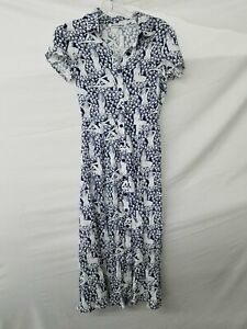 Reformation Blue & White Nude Woman Print Button Down Midi Dress Size 0