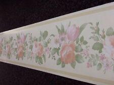 Vintage Cream Rose Pêche Vert Floral Papier Peint Frontière 10mt double rouleau