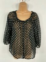 WOMENS H&M BLACK & WHITE SPOTTED 3/4 SLEEVE SMART CASUAL SHIRT BLOUSE TOP UK 10