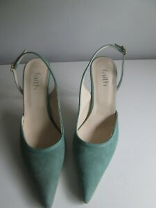 WOMENS FAITH GREEN SLING BACK STILETTO HEEL SHOES SIZE 5