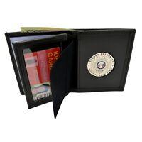CCW CWP 2nd Amendment Silver RTBA Medallion Bi-fold Men's Leather Wallet Black