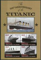 Bequia Grenadines St Vincent 2012 MNH Titanic 100th 4v M/S Ships Boats Stamps