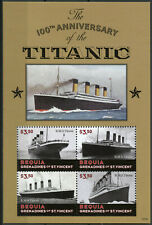 Bequia Grenadines St Vincent 2012 MNH Titanic 100th 4v M/S Ships Boats Stamps