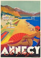 ANNECY LA PLAGE Vintage French Travel Poster. Art Deco A3 Print, 1935