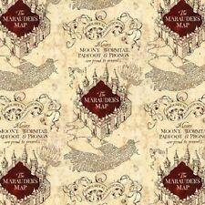 Harry Potter Marauders Map Beige 100% Cotton Fabric FAT QUARTER