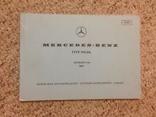 1961 Mercedes Benz 190Db 190 Db Parts Catalog Manual W121 Chassis OM621 Diesel