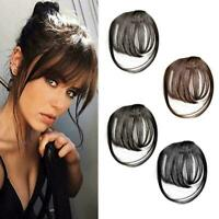 Thin Neat Air Bangs Human Hair Extensions Clip in on Fringe Front Hairpiece B9G3