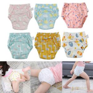 6Pcs Cartoon Cotton Boys Girls Toddler Baby Potty Training Pants Washable Diaper